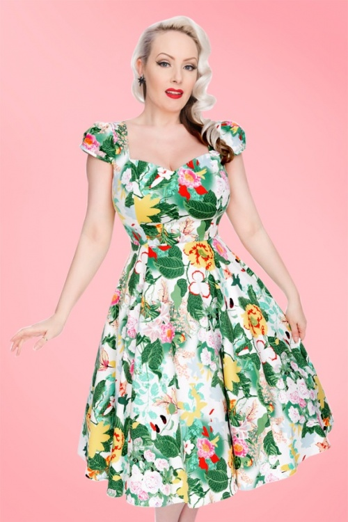 Hearts and Roses White Floral Swing Dress 102 59 18409 1