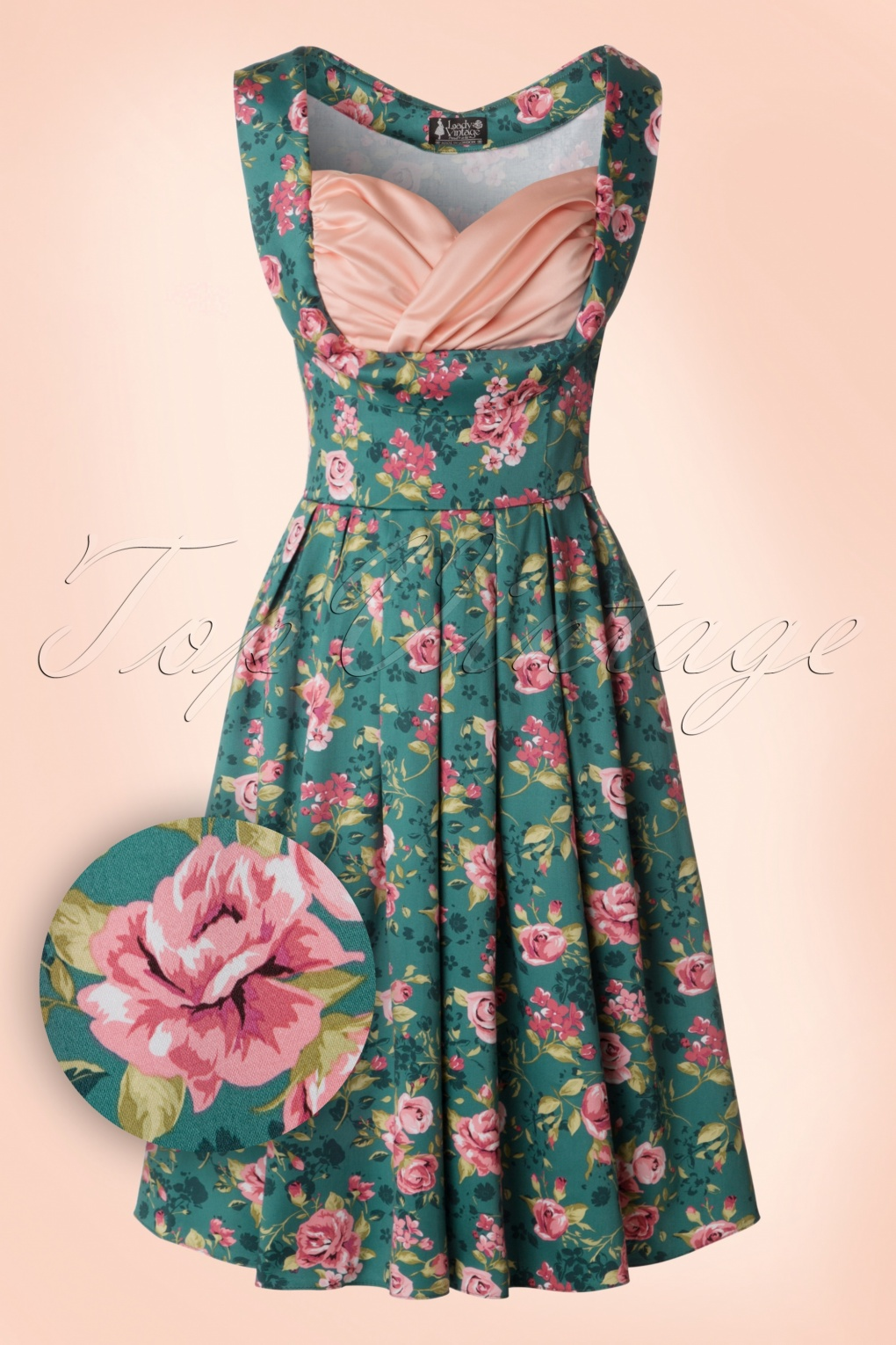 50s Madison Summer Rose Swing Dress in Vintage Green