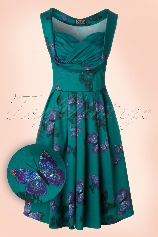 50s Madison Butterfly Swing Dress in Teal