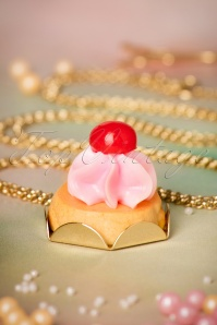 50s Cafe Gourmand Cherry Cream Necklace Gold Plated