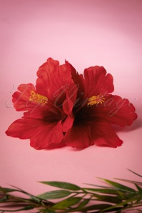 Double Hibiscus Double Pretty Hair Clip Années 50 en Rouge