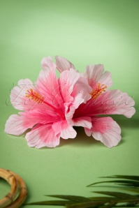 50s Double Hibiscus Double Pretty Hair Clip in Pink