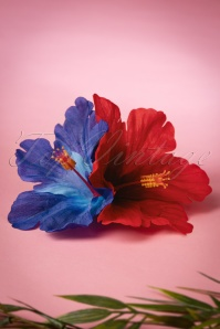 50s Double Hibiscus Double Pretty Hair Clip in Red and Blue