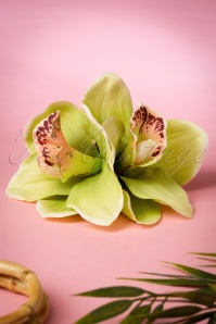 50s Double Orchid Double Pretty Hair Clip in Light Green