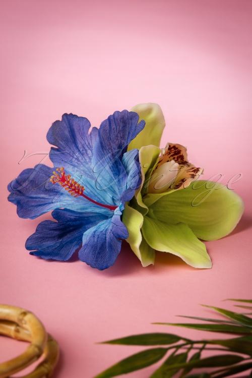 Lady Luck's Boutique Green Blue Izabela Double Hair Flower 200 30 18654 20160510 0009W