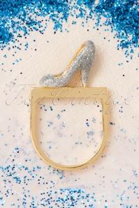 50s Soulier De Verre Glass Slipper Ring Gold Plated