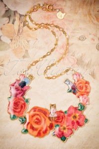 50s Nathalie Lété Cats on Roses Dickey Necklace Gold Plated