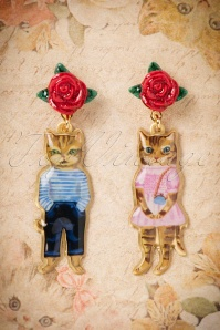 50s Nathalie Lété Couple of Cats Earrings in Gold