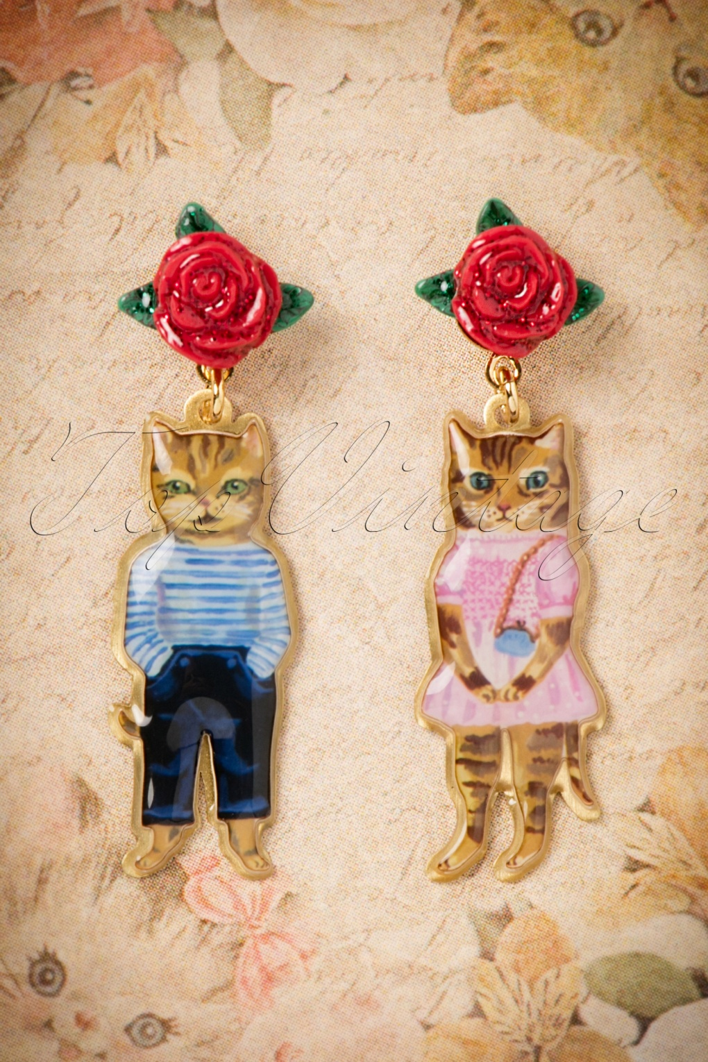 50s Nathalie L 233 T 233 Couple Of Cats Earrings In Gold