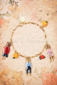 50s Nathalie Lété Cats and Roses Bracelet Gold Plated