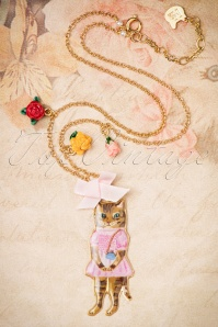 50s Nathalie Lété Cat Wearing Pink Necklace Gold Plated