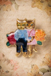 50s Nathalie Lété Couple of Cats Brooch in Gold