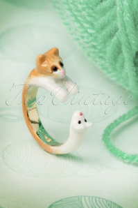 Kitty Cat Chasing the Mouse Ring Années 50 en Or