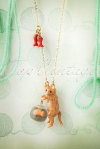 50s Kitten Eyeing the Goldfish Necklace Gold Plated