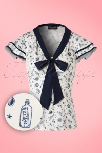 40s Jaimie Sailor Blouse in Cream