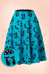 50s Amelia Cat Skirt in Blue