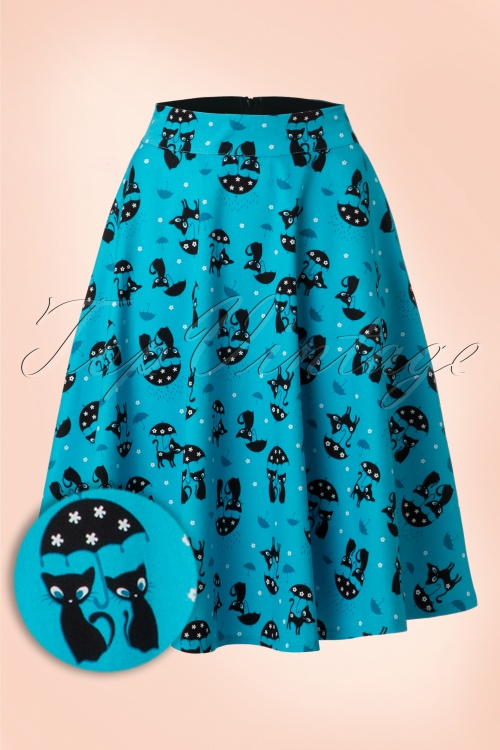 Vixen Cat in the Rain Blue Swing Skirt 122 39 17982 20160513 0015WAV