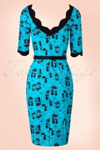 Vixen Cat in the Rain Blue Pencil Dress 100 39 17961 20160513 0013W