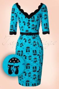 50s Jade Cat Pencil Dress in Blue
