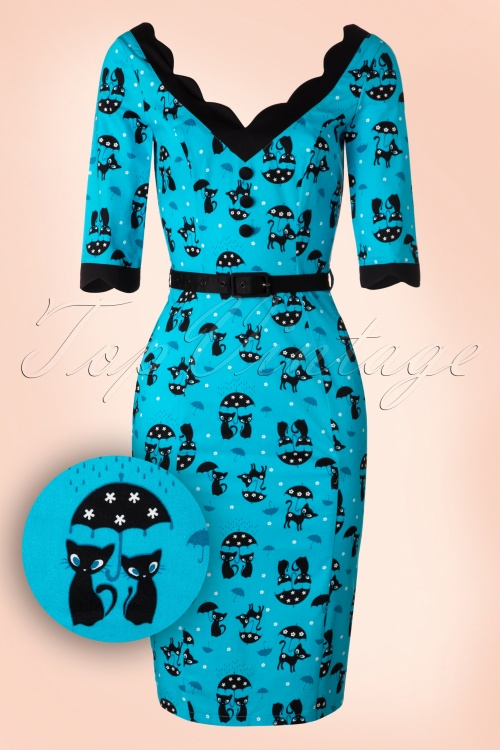 Vixen Cat in the Rain Blue Pencil Dress 100 39 17961 20160513 0002W1