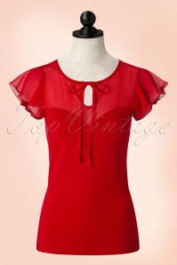 50s Alyssa Lace Top in Red