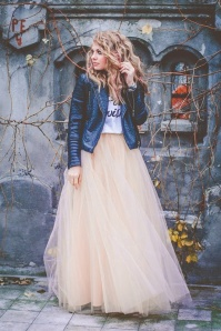 50s Olivia Maxi Tulle Skirt in Cream
