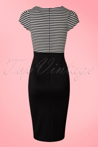 Vintage Chic Black and White Striped Pencil Dress 100 10 19220 20160518 002W
