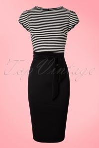 Vintage Chic Black and White Striped Pencil Dress 100 10 19220 20160518 001W