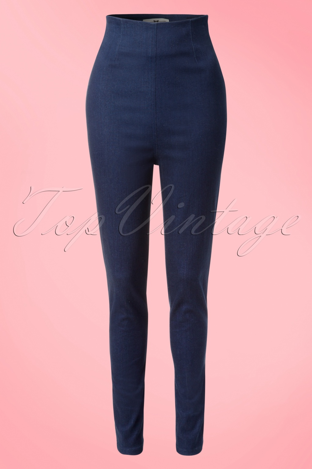 1950s Style Pants | Pinup Capri | High Waist Jeans 50s Kirsty Denim Pants in Blue £57.03 AT vintagedancer.com