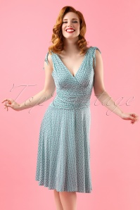50s Grecian Dress in Aqua and Navy
