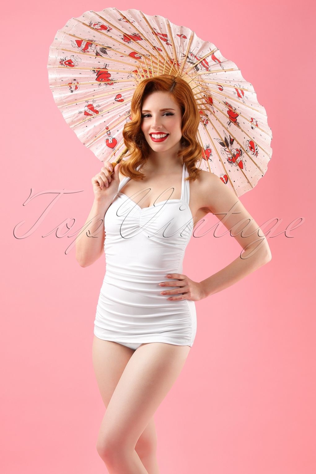 e731c01b9e 50s Marilyn Classic One Piece Swimsuit in White