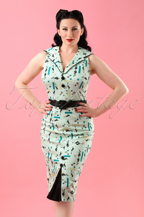Vixen 50s Mint Cats Pecil Dress 133 49 18587 20160428 0014W