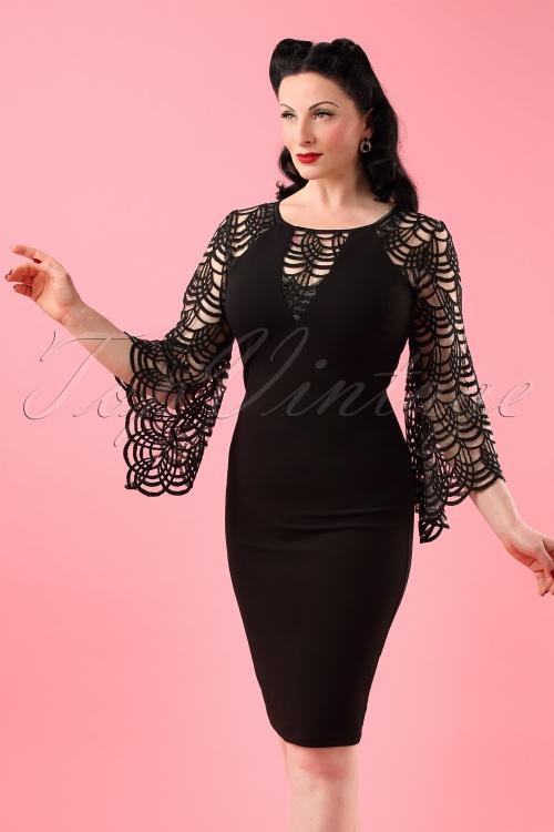 Vintage Chic Bell Sleeve Black Pencil Dress 100 10 19037 20160412 0013W