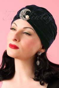 30s Myrna's Moon Velvet Turban Hat in Midnight Blue