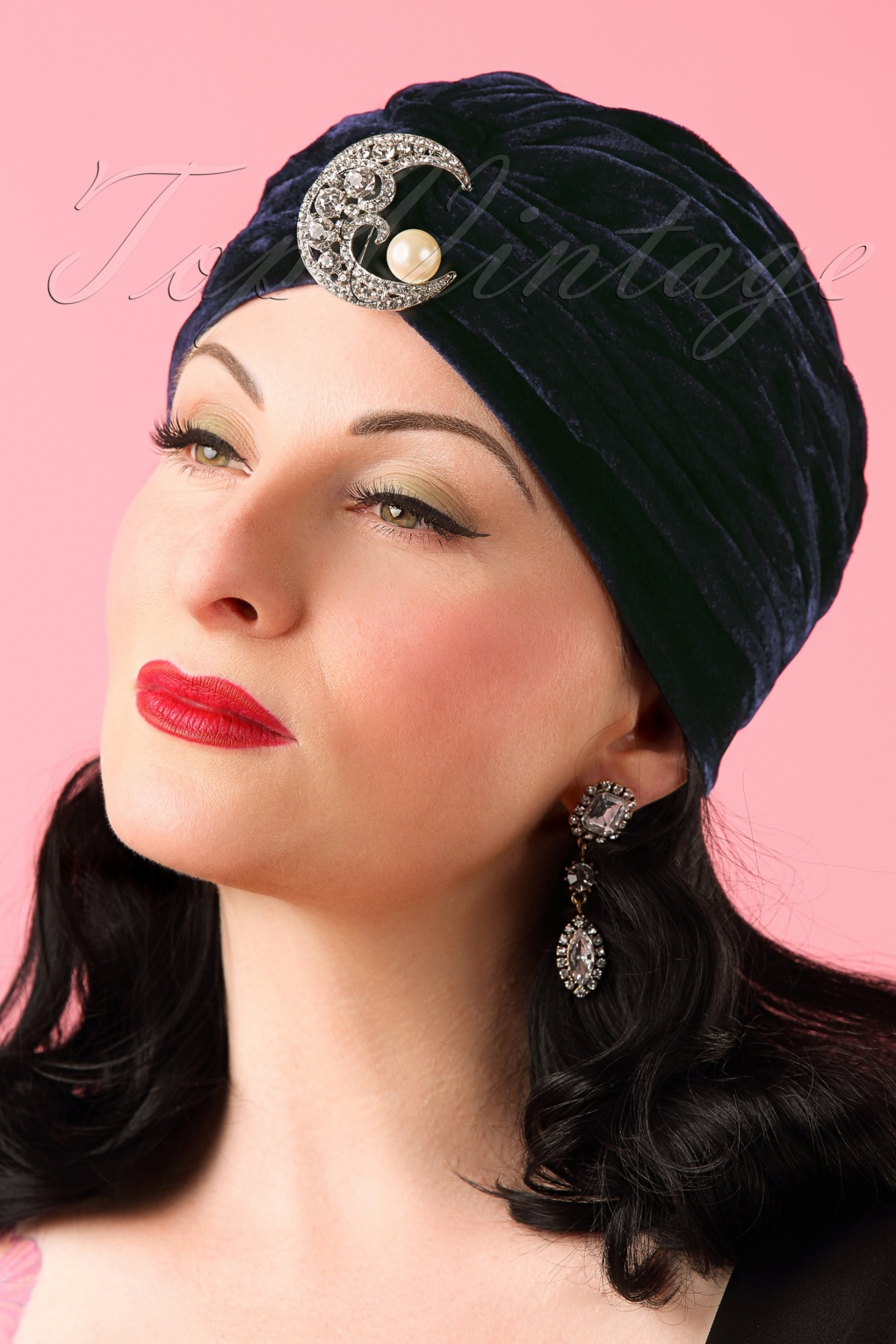 1940s Hats History 30s Myrnas Moon Velvet Turban Hat in Midnight Blue £21.19 AT vintagedancer.com