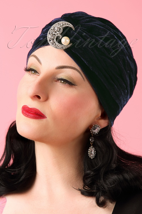 The pink Collar Life Myrna Moon Turban in Blue 202 30 18308 04202016 015W
