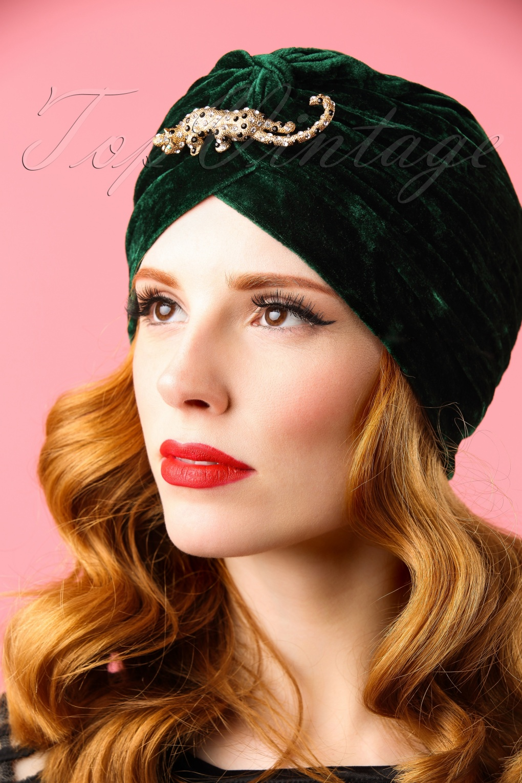 30s Lili's Leopard Velvet Turban Hat In Emerald Green