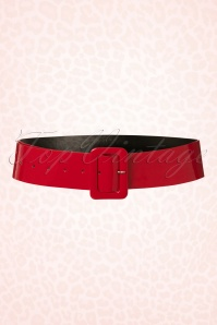 Collectif Clothing 50s Sally Patent Belt in Red