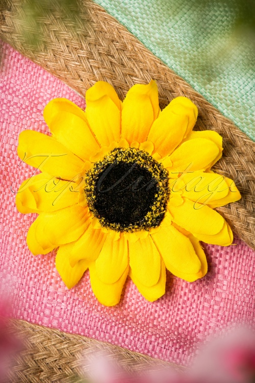 50s shine bright like a sunflower hair clip brooch. Black Bedroom Furniture Sets. Home Design Ideas