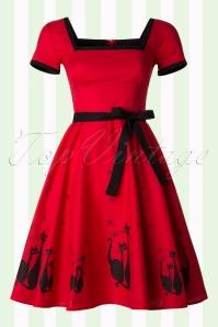 50s Simone El Gato Gomez Swing Dress in Red