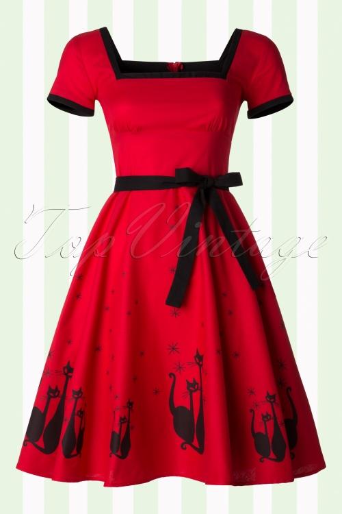 Heart of Haute Simone 50s Red Swing Cat Dress 102 27 18168 20160526 0018W