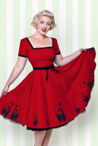 Heart of Haute Simone 50s Red Swing Cat Dress 102 27 18168 1