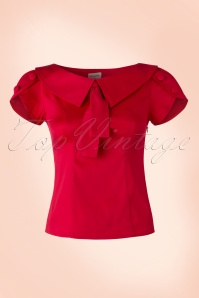 40s Frou Frou Retro Style Top in Red
