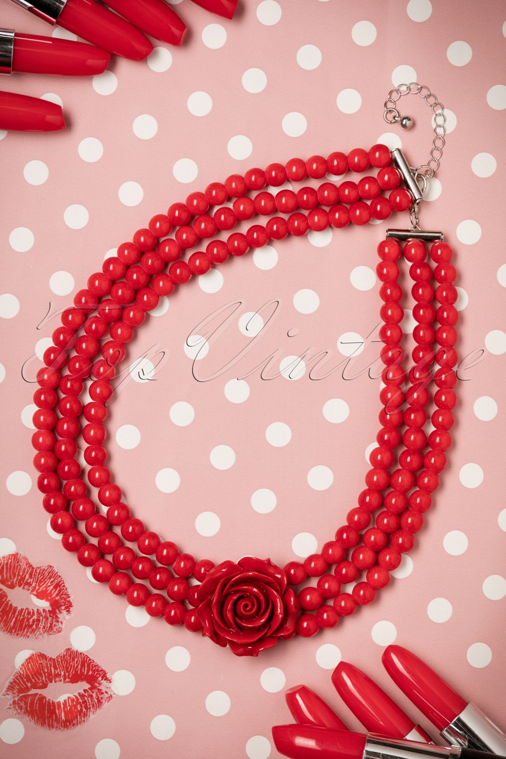 1950s Costume Jewelry 50s Pretty Rose Pearl Necklace in Red £11.25 AT vintagedancer.com