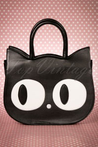 Banned Alternative 60s Lizzy The Big Eyed Cat Bag in Black