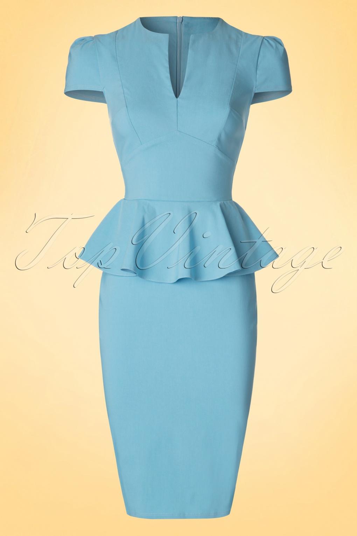 50s Carry Peplum Dress in Sky Blue