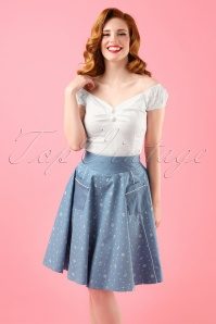 50s Sweet Talker Sailor Swing Skirt in Denim Blue
