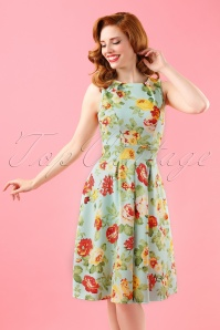 50s Veronica Floral Flare Dress in Mint