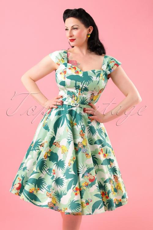 50s Sandra Hawaiian Swing Dress in Green