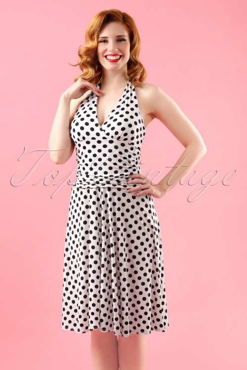 50s valencia polkadot halter dress in white - Vintage valencia ...